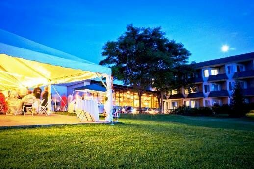 Outdoor venue in the evening