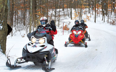 Snowmobiler waving from trail